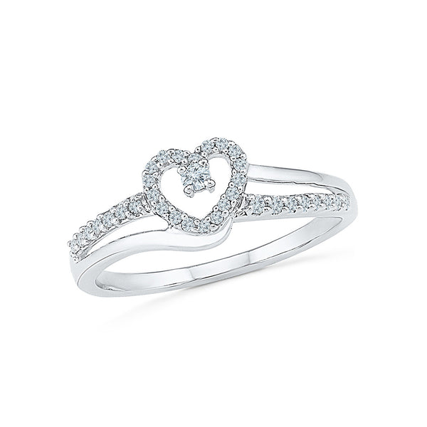 14k, 18k white and yellow gold Heart catcher Designer Ring in PRONG setting for women online
