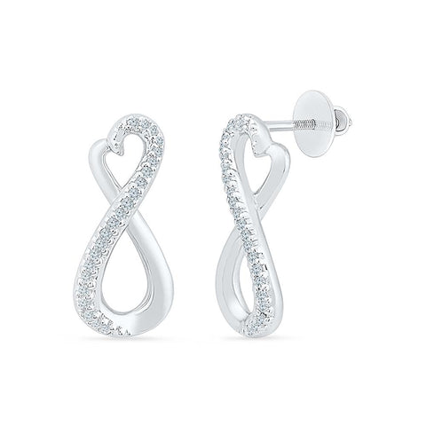 Infinity Hold Diamond Drop Earrings in 92.5 Sterling Silver for women online