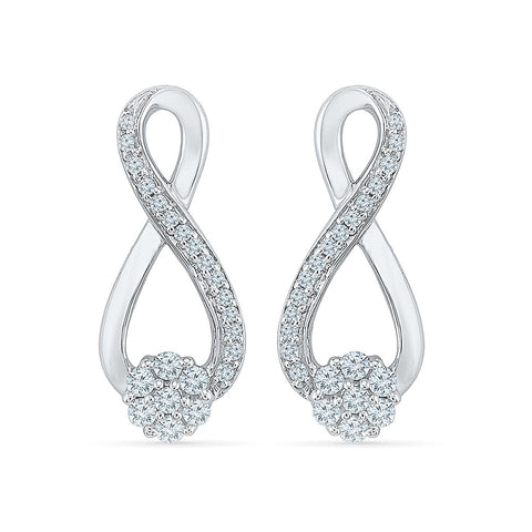 Gliterring Infinity Diamond Drop Earrings in 14k and 18k gold for women online