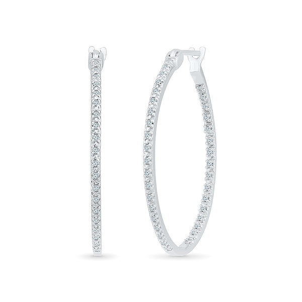 Vertical Elegance Diamond Hoops in 14k and 18k gold