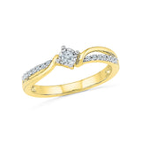 9/14/18 Carat White/Yellow/Rose Gold Curve Line Engagement Ring with Prong Set Diamonds