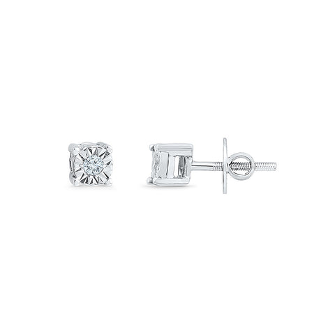 Solitaire Charm Diamond Stud Earrings for kids in gold
