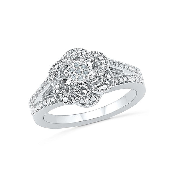 Silver Designer Cocktail Diamond Ring
