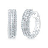 Three Row Diamond Hoop Earrings