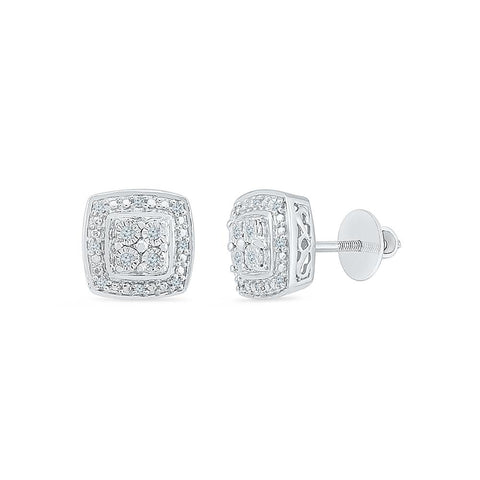 Square Shine Diamond Stud Earrings in 92.5 Sterling Silver for women online