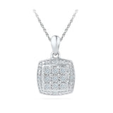 Beautiful Miracle Set Square Pendant in 14k and 18k Gold online for women