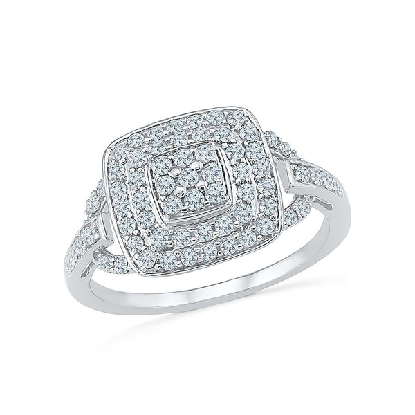 14kt / 18kt white and yellow gold heavily studded square diamond  in PRONG and CHANNEL for women online