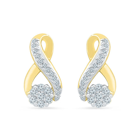 Floral Hold Diamond Stud Earrings in 14k and 18k gold
