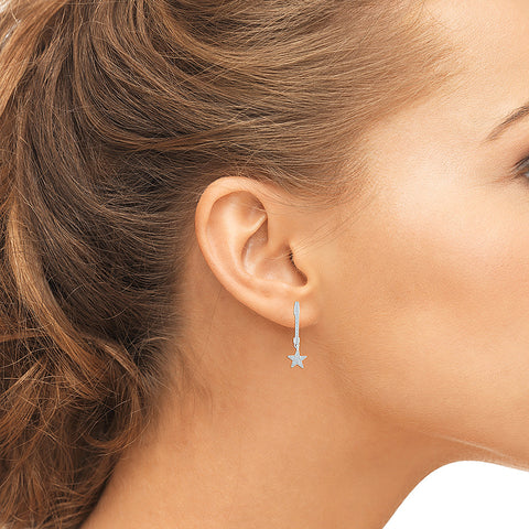 Hanging Star Diamond Hoop Earrings