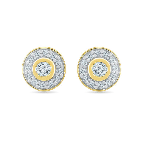 Elegant Circle Diamond Stud Earrings in 14k and 18k gold for women online