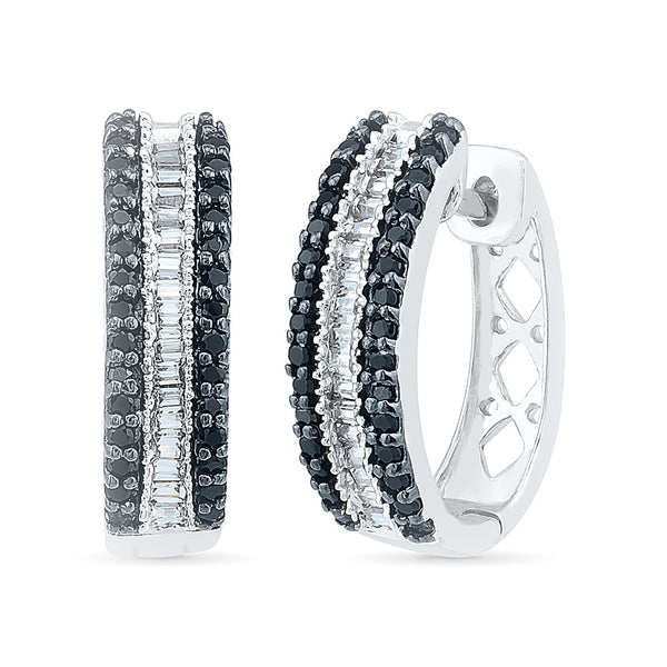 Serene Black and White Diamond Huggies in 14k and 18k gold for women online