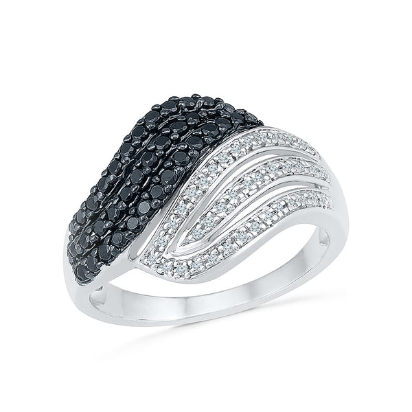 14kt / 18kt white and yellow gold Voluminious Black and White Diamond Cocktail Ring in PRONG for women online