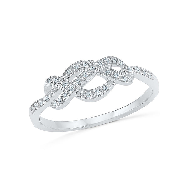 14kt / 18kt white and yellow gold Infinity Knot Diamond Cocktail Ring in PRONG for women online