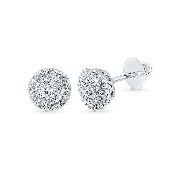 Classic Circle Diamond Stud Earrings in 14k and 18k gold for women online