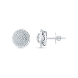 Multi Diamond Circle Stud Earrings