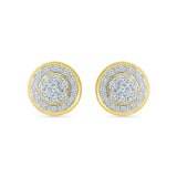 Multi Diamond Circle Stud Earrings in 14k and 18k gold for women online
