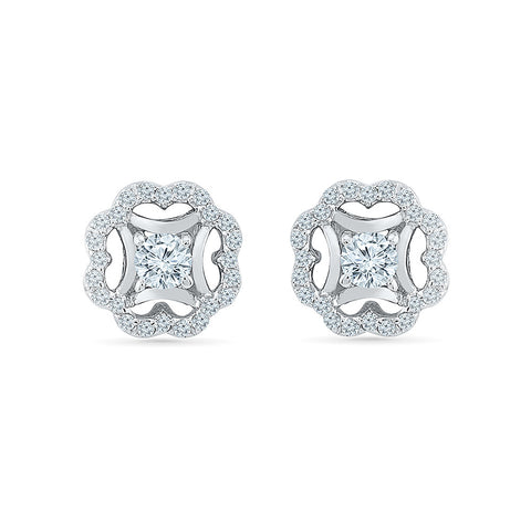 Fancy Florette Diamond Stud Earrings in 14k and 18k gold for women online