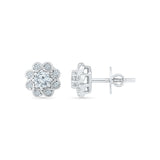 Floral Bloom Diamond Stud Earrings