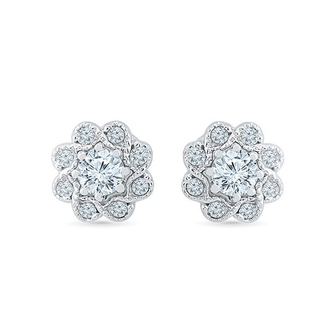 Floral Bloom Diamond Stud Earrings in 14k and 18k gold for women online