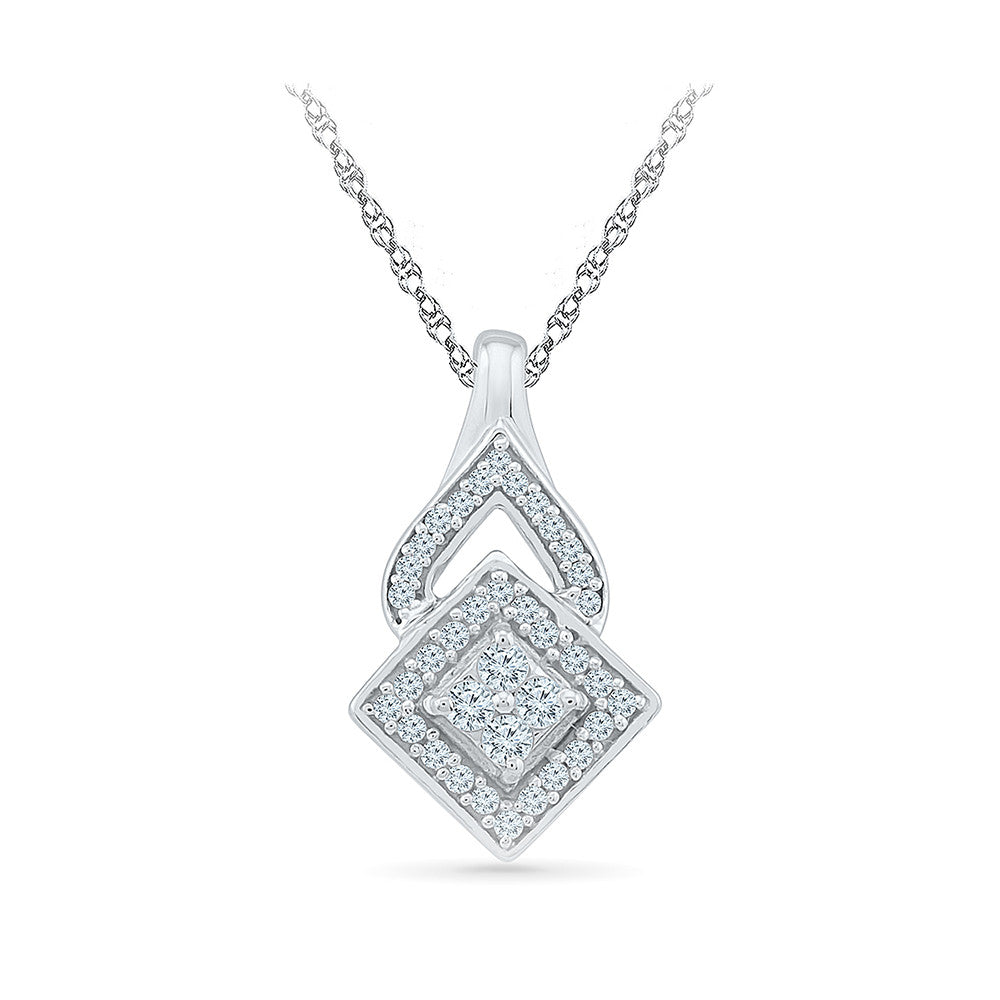 Buy fancy diamond pendant for young girls in gold radiant bay save quadrangle diamond pendant in 14k and 18k gold online for women mozeypictures Image collections