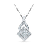 Quadrangle Diamond Pendant in 14k and 18k Gold online for women