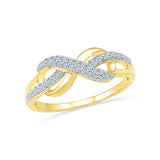 14kt / 18kt white and yellow gold Infinity Bows Everyday Diamond Ring in Channel setting online for women