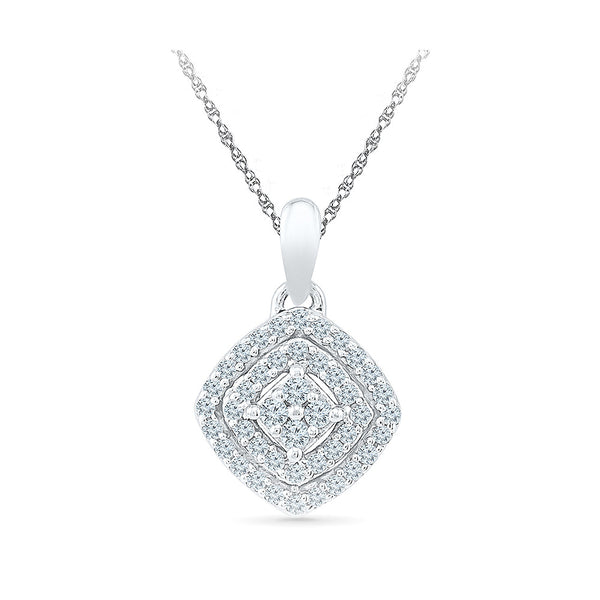 Ritzy Rhombus Diamond Pendant in 14k and 18k Gold online for women