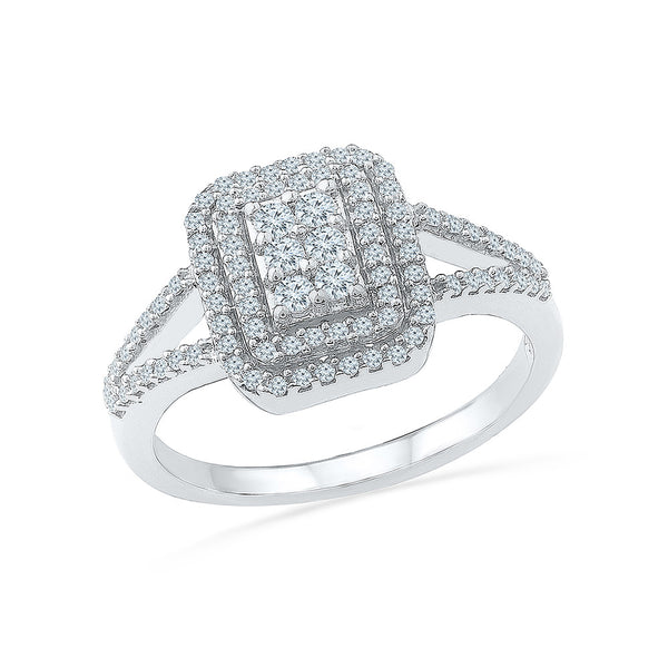 14kt / 18kt white and yellow gold Diamond Square Stellar Cocktail Ring in PRONG setting online for women