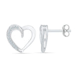 Open Heart Diamond Stud Earrings