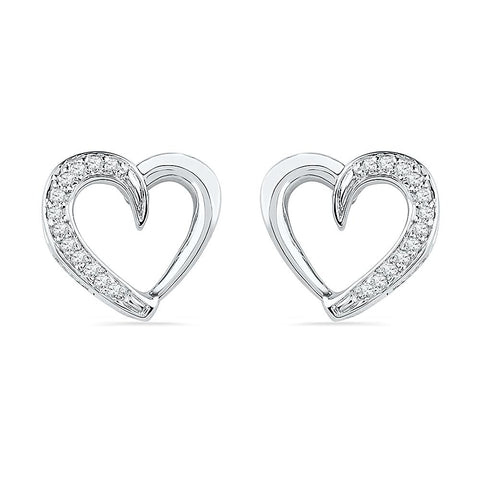 Open Heart Diamond Stud Earrings in 92.5 Sterling Silver for women online