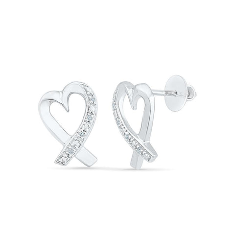 Luxurious Heart Diamond Stud Earrings in 92.5 Sterling Silver for women online