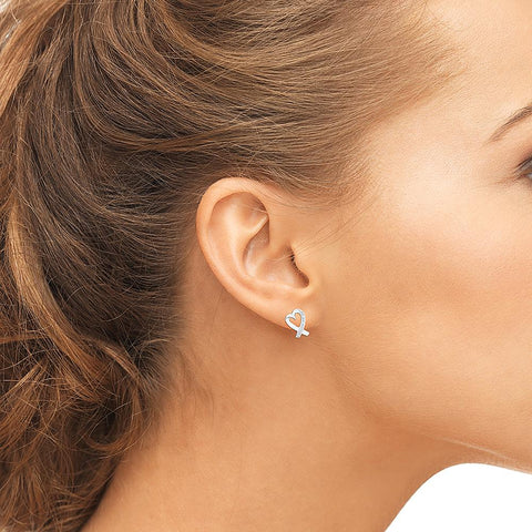 Luxurious Heart Diamond Silver Stud Earrings