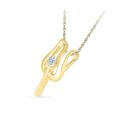 One Stone Trishool Diamond Pendant