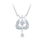 Multi Stone Trishool Diamond Pendant