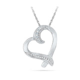 Silver Heart Diamond pendant in Prong Setting