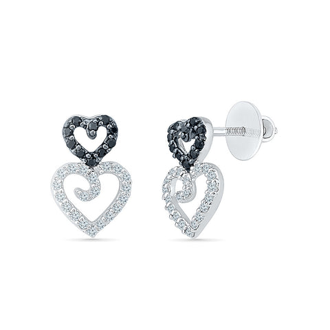 Open Heart Black And White Diamond Studs in 14k and 18k gold for women online