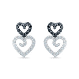 Open Heart Black and White Diamond Studs