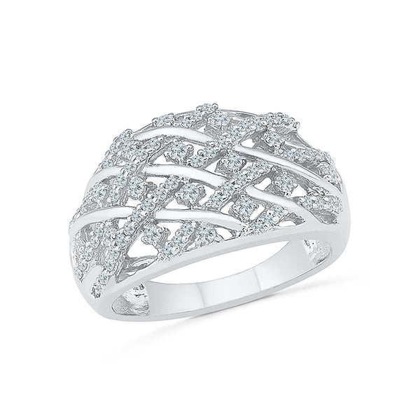 Diamond Crossover Cocktail Ring