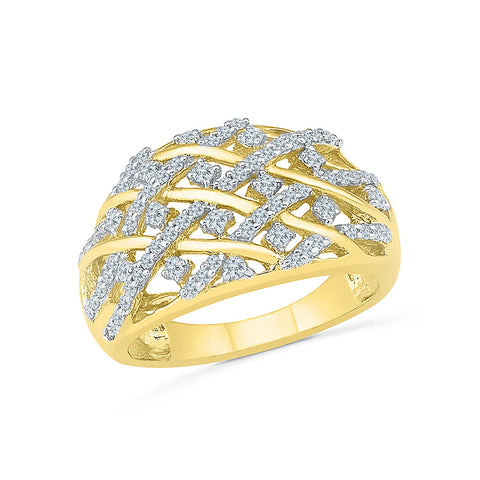 14kt / 18kt white and yellow gold Diamond Crossover Cocktail Ring in Prong setting online for women