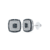 Square Black And White Diamond Stud Earrings in 14k and 18k gold for women online