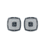 Square Black and White Diamond Stud Earrings