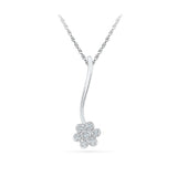 fashionable diamond pendant with flower in 14k and 18k Gold online for women