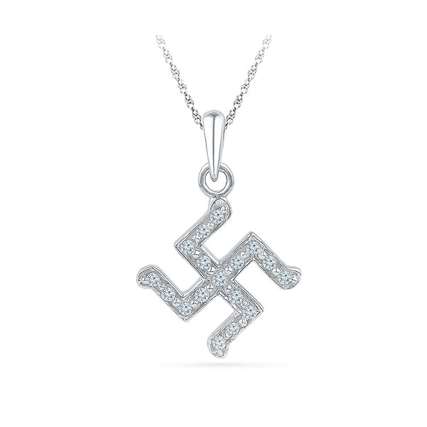 simple diamond studded swastika pendant in gold for women online