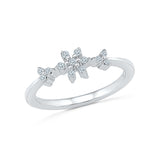 14kt / 18kt white and yellow gold Pretty Petals Diamond Band Ring in Prong for women online