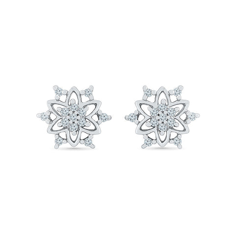 Fancy Star Diamond Stud Earrings in 14k and 18k gold for women online