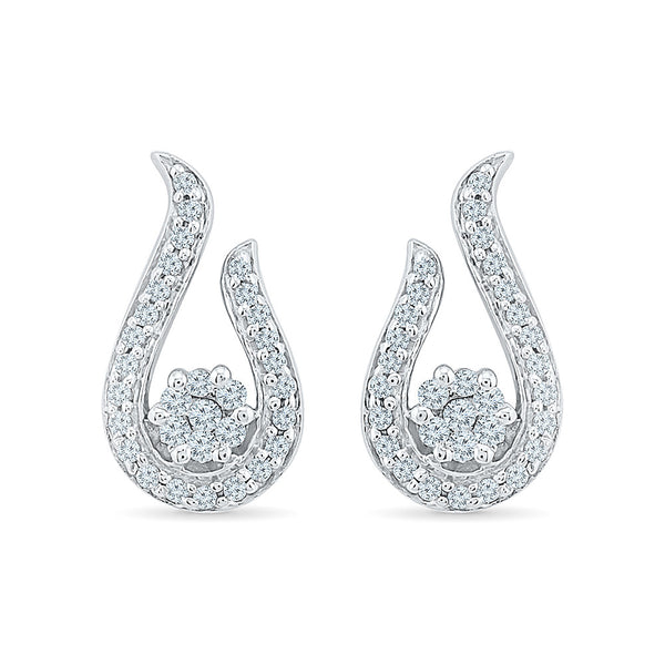Open Teardrop Diamond Stud Earrings in 14k and 18k gold for women online