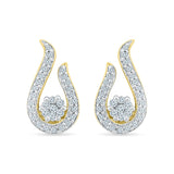 Open Teardrop Diamond Stud Earrings