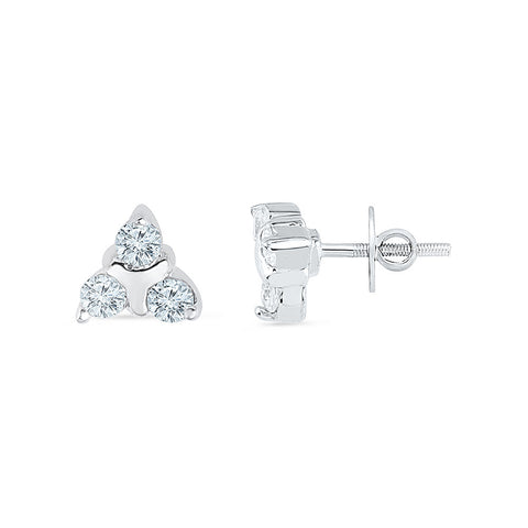 Three Stone Diamond Stud Earrings for kids in gold