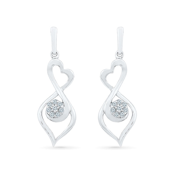 Flower Holds Diamond Drop Earrings