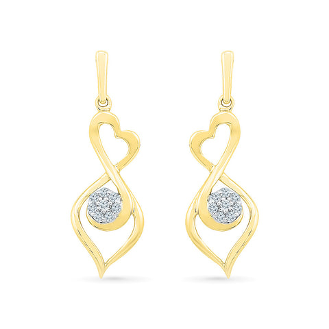 Flower Holds Diamond Drop Earrings in 14k and 18k gold